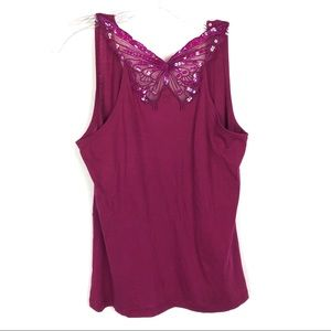 Free people berry butterfly sequins tank top